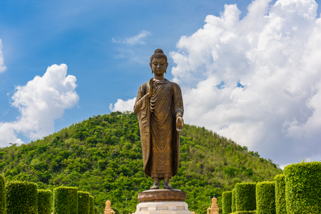 public domain: Statues of Buddha at Wat Thipsukhontharam,Kanchanaburi province,Thailand,Phra Buddha Metta,They are public domain or treasure of Buddhism, no restrict in copy or use Stock Photo