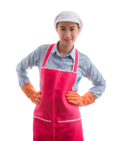 hotel staff: portrait of curious female Asian maid Smiling, thinking. isolated over white background Stock Photo