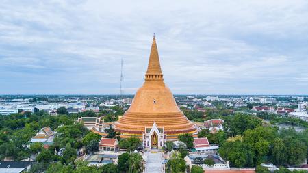 Golden pagoda Phra Pathom Chedi of Nakhon Pathom province Asia Thailand, Aerial Photography