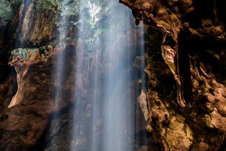 Sun Light, Sunbeam in buddha cave, Tham Khao Luang near Phetchaburi,Thailand