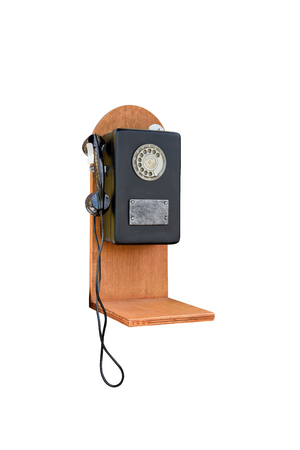 Retro rotary old phone on white background with clipping path Stock Photo
