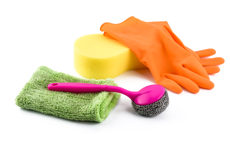 Set of cleaning supplies and gloves isolated on white background