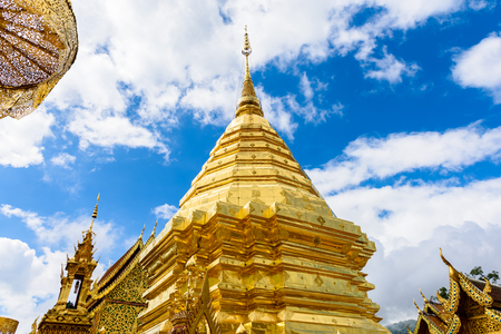 Wat Phra That Doi Suthep The temple founded in 1385 is a major landmark tourist attraction in Chiang Mai Locals and tourists come to pray at Doi Suthep Temple in Chiang Mai, Thailand
