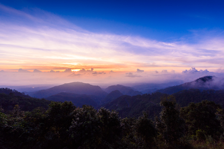 Sea of mist, Tourists and Campground tents, View from Mon Sone View Point, Doi Pha Hom Pok National Park, Angkhang mountain, chiang mai, Thailand