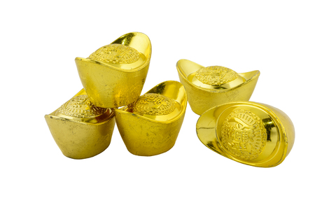 Chinese new year ornament Decoration of chinese gold ingots isolated on white background with clipping path