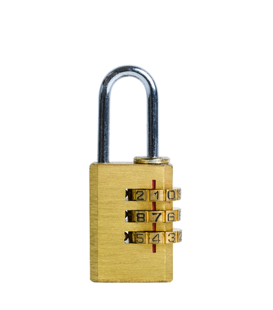 Close Golden padlock with pass-code or password,combination padlock isolated on white background with clipping path Foto de archivo