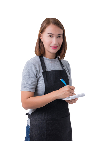 waitress, delivery woman or Servicewoman in Gray shirt and apron. taking order and making note isolated on white background with clipping path