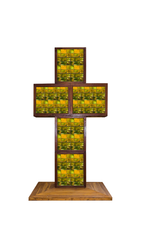 Wooden cross, Wooden crucifix isolated on white background with clipping path