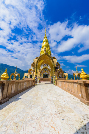 Decoration of surrounding area Big Main Pagoda in Wat Phra That Pha Son Kaew temple at Phetchabun Thailand Stockfoto - 116140228