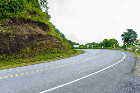 Curve road signs on down hill. Many warning sign indicating for safety at Viewpoint