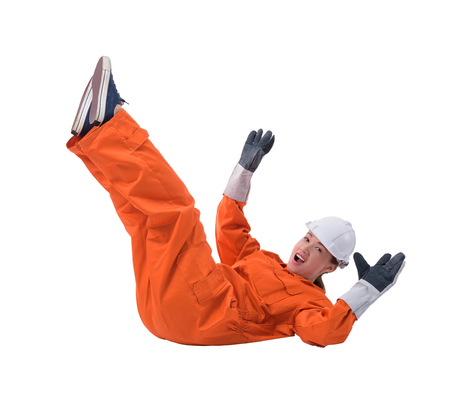 woman worker in Mechanic Jumpsuit with helmet and Protective gloves had an accident at work isolated on white background clipping path Stock Photo
