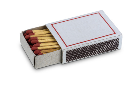 Box of matches isolated on white background with clipping path