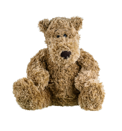 Cute brown teddy bear isolated on white background with clipping path. Children's toys and gifts for peoplee all ages. Front view