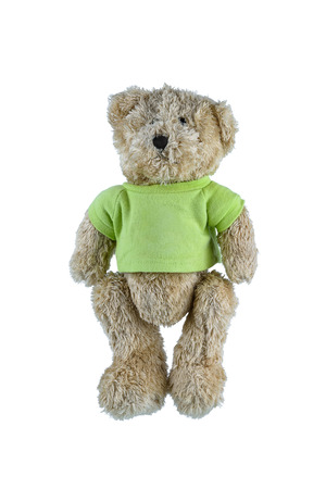 Cute brown teddy bear isolated on white background. Children's toys and gifts for peoplee all ages. Front view 版權商用圖片