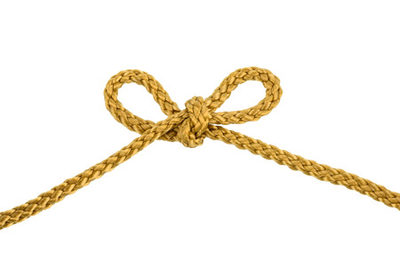 Twine rope or Jute Rope with bow Knot isolated on White Background with clipping path Imagens