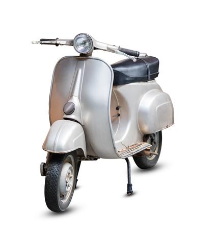 Motocicleta retro gris aislado sobre fondo blanco con trazado de recorte
