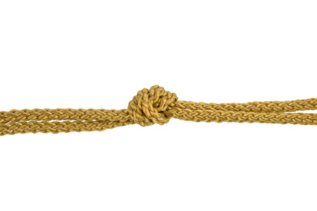 Twine rope or Jute Rope with Knot isolated on White Background with clipping path Imagens - 124604132