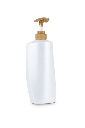 Dispenser head pump Gold color, white body plastic bottle cosmetic hygiene, gel, liquid soap, lotion, cream, shampoo, conditioner with body moisturising isolated on white background with clipping path Фото со стока