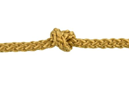 Twine rope or Jute Rope with Knot isolated on White Background with clipping path