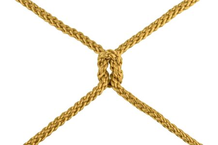 Twine rope or Jute Rope with Knot isolated on White Background with clipping path Banco de Imagens - 127313303