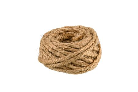 hemp rope winded is a ball isolated on white background with clipping path