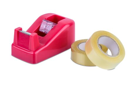 office stationary scotch tape dispenser isolate on white background with clipping path