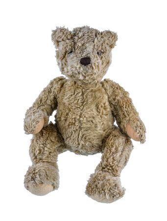 Cute brown teddy bear isolated on white background. Childrens toys and gifts for peoplee all ages. Front view 写真素材