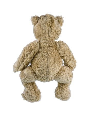 Cute brown teddy bear isolated on white background. Childrens toys and gifts for peoplee all ages. Back view