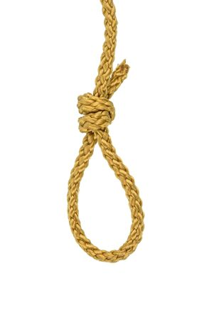 Hangmans noose made of Twine rope or Jute Rope with Knot isolated on White Background with clipping path Imagens