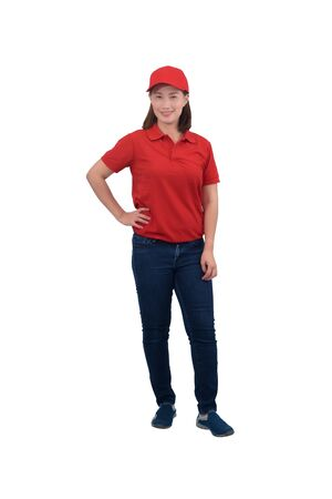 Portrait Of happy Female staff in uniforms isolated on white background with clipping path
