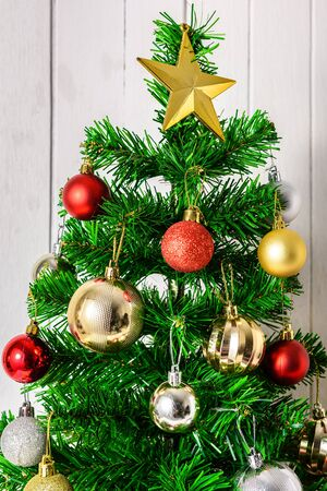 Close up Christmas tree and ornaments