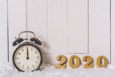 2020 wooden text on white fur and white wooden background. New year concept and copy space