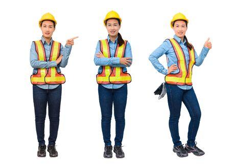 Collectie set Portret van vrouwelijke werknemer met beschermingsmiddelen wijzend op kopie ruimte, geïsoleerd op een witte achtergrond Stockfoto