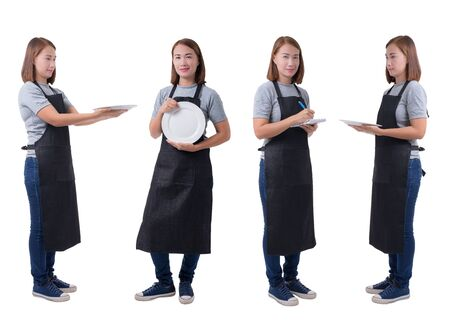 Collection set  portrait  waitress, delivery woman or Servicewoman in Gray shirt and apron. hand holding empty white plate and taking order and making note  on white background