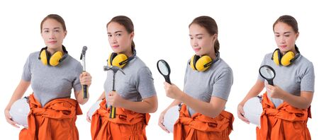 Collection set Portrait of woman worker in Mechanic Jumpsuit is holding a tool with helmet, earmuffs isolated on white background