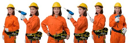 Collection set of construction woman workers wearing Orange Protective clothes, helmet hand holding Craftsman tool with tool belt isolated on white background Stok Fotoğraf