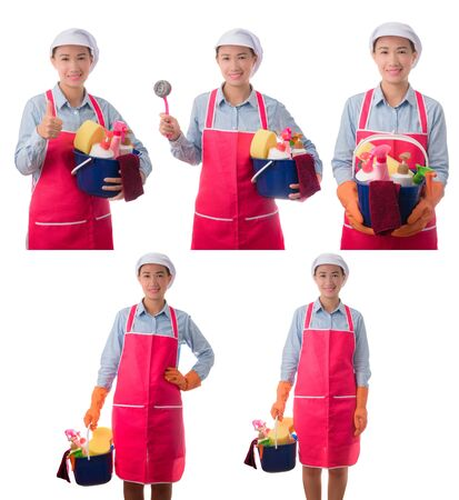 Collection set of happy woman, maid, House wife  holding a bucket full of cleaning supplies isolated on white background Stok Fotoğraf
