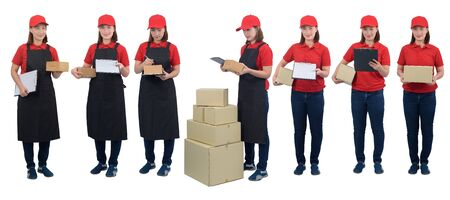 Collection set of full body Portrait Of Delivery woman in red uniform with apron and Parcel boxes making notes on delivery receipt clipboard, isolated on white background. mail, logistics, people and shipping courier service concept Stok Fotoğraf