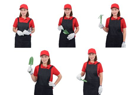 Collection set of portrait of a worker woman or Servicewoman in Red shirt and apron is holding Shovel for Cultivators isolated on white background. Hand-made, DIY concept Stok Fotoğraf