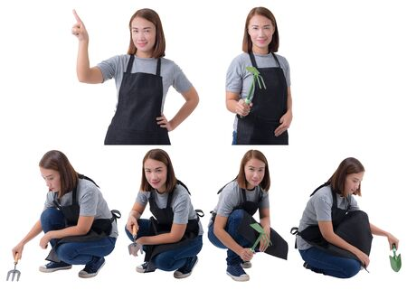 Collection set of portrait of a worker woman or Servicewoman in Gray shirt and apron is holding Shovel for Cultivators isolated on white background. Hand-made, DIY concept