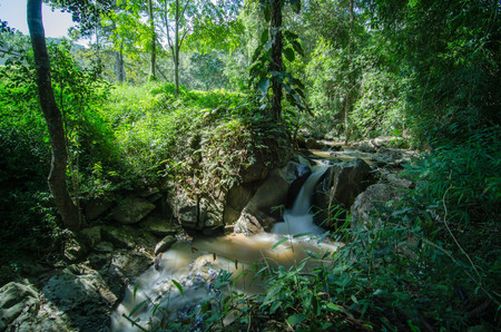 Small waterfall on mountain stream in summer meadow of Thailand. Cold misty and rainy weather at the end of summer. Stock Photo - 101828219