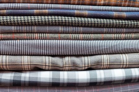Many pattern silk fabric vietnam colorful traditional scarfs. Banco de Imagens