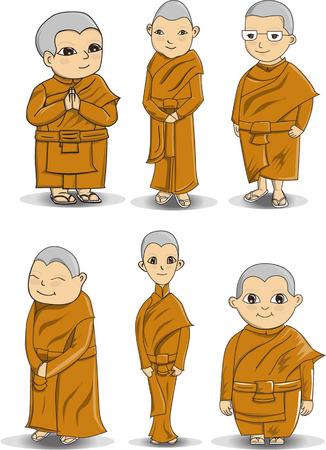 character design Bhikkhuni or Buddihist nun 向量圖像