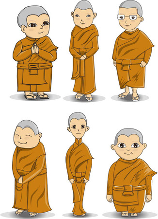 character design Bhikkhuni or Buddihist nun Illustration