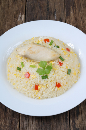 Fried rice with chicken closeup.Thai style name