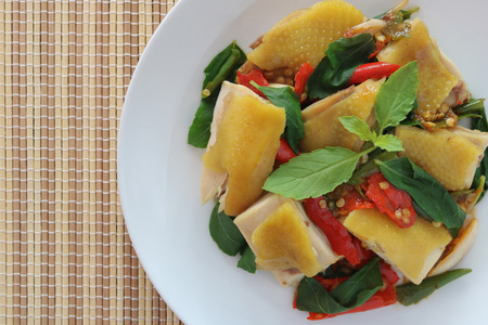 Thai food,stir fried chicken with holy basil