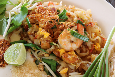 Pad Thai,stir fried noodle with shrimp close up