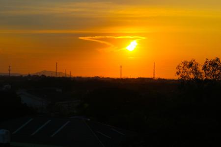 Sunset at Bangpra,Chonburi,Thailand Archivio Fotografico