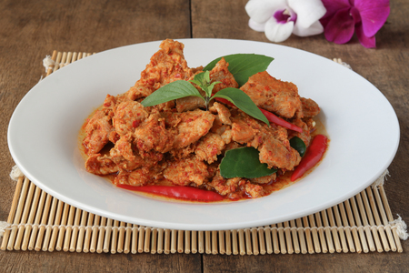 Stir fried pork red curry ,Thai food homemade meal serve with steamed rice