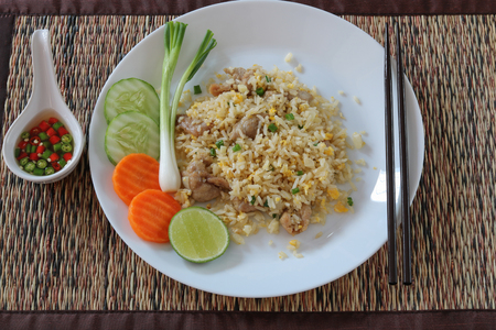 Fried rice with pork and egg .Thai style call